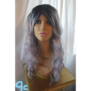 Gray curly hair wig